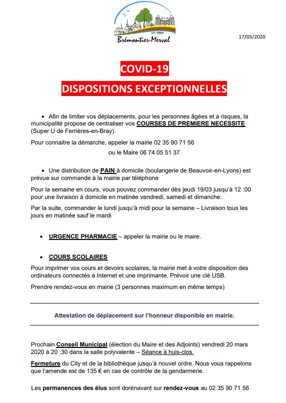 Commune de Brémontier-Merval / COVID-19  Mesures exceptionnelles